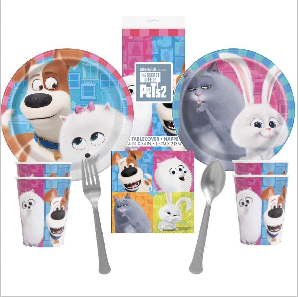 Secret Life of Pets Part 2 NEW Birthday Party Supplies Pack for 16 Guests Plates Cups Napkins Table Cover Premium Cutlery