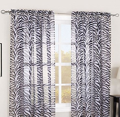 Gorgeous Home DIFFERENT COLORS 2 PANELS ZEBRA GRAYISH
