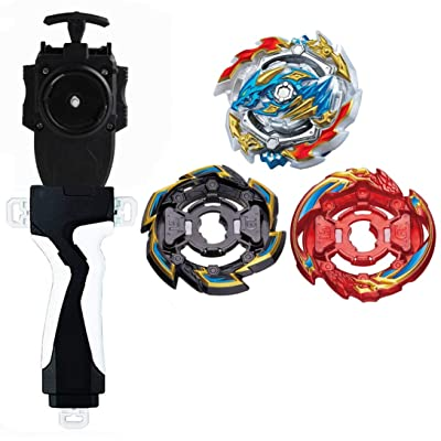 3 in 1 Battling Toys Burst Booster B-133 Ace Rock Gran Dragon/Rock Dragon Black/Grand Dragon RED Starter with Battling String Launcher Burst Bey Launcher LR (Left & Right Turning)+String Launcher Grip
