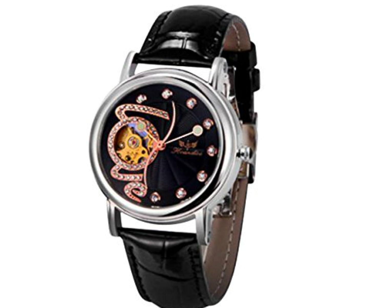 Webla Empfohlene Nodes1PC Frauen-Art- und Weiseleder-Band-mechanische Uhr-Armbanduhr BK