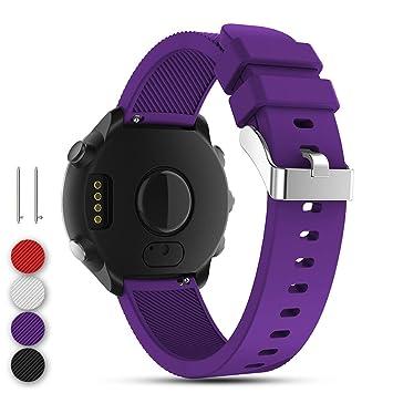 Feskio Correa de repuesto para reloj Garmin Vivoactive 3/GarminForerunner 645 Music/GarminVivomove HR Smartwatch, morado: Amazon.es: Deportes y aire libre