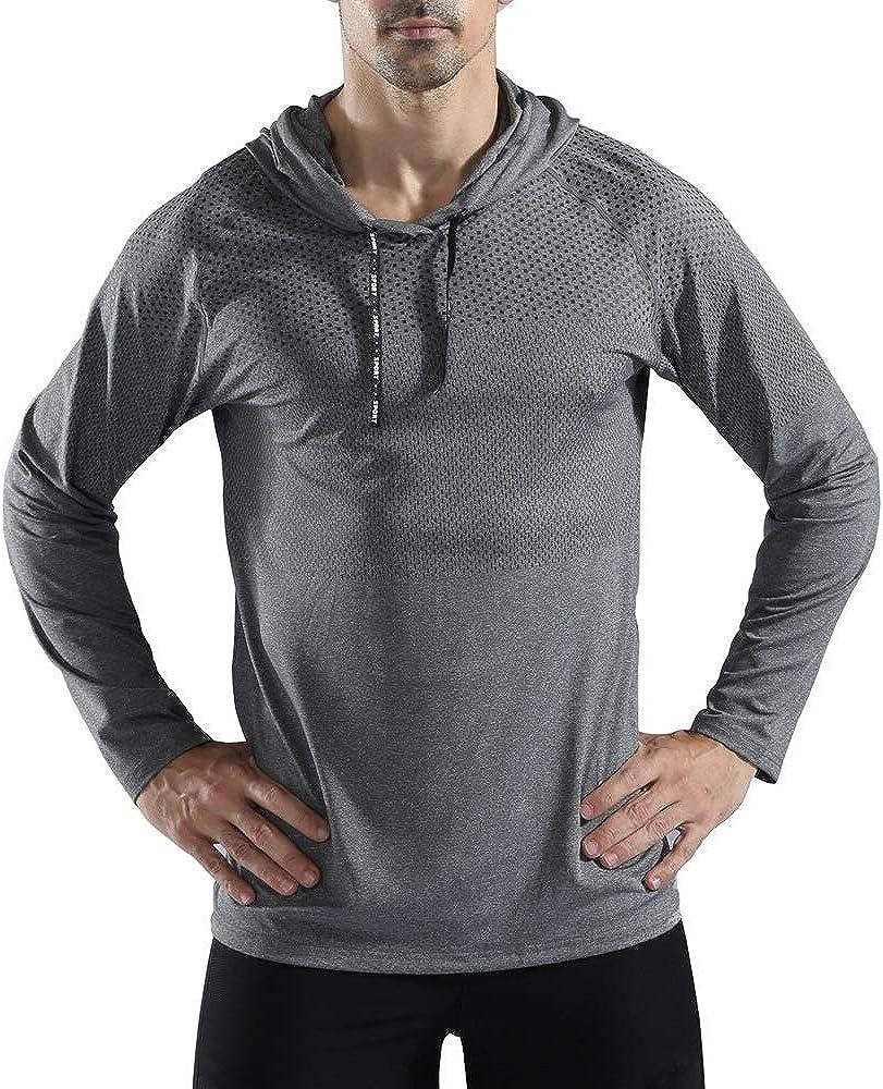 Rdruko Men's Active Gym Muscle Bodybuilding Long Sleeve Hoodies Workout Running Hooded Sweatshirts