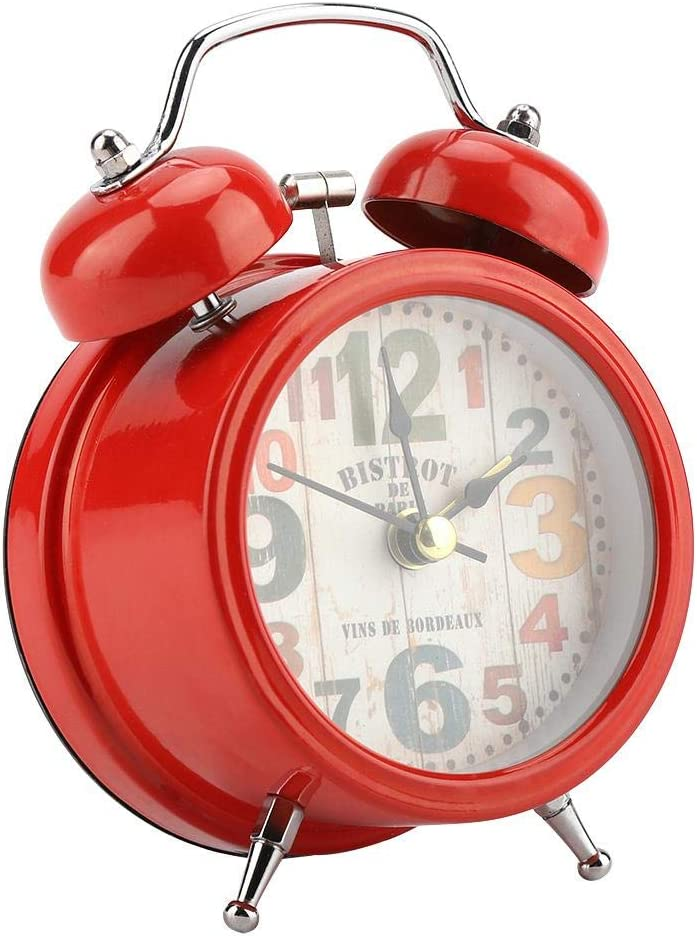 Garosa Reloj de Alarma Digital Campana Centelleante Portátil Inicio Campana de Metal Silenciador con Luces Clásica Reloj de Alarma Antiguo Accesorio de Dormitorio para Dormitorio