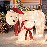 Outdoor Mama & Cub Polar Bear Display Christmas Yard Decoration Sculpture Holiday Seasonal