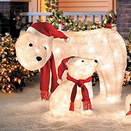 outdoor mama cub polar bear display christmas yard decoration sculpture holiday seasonal