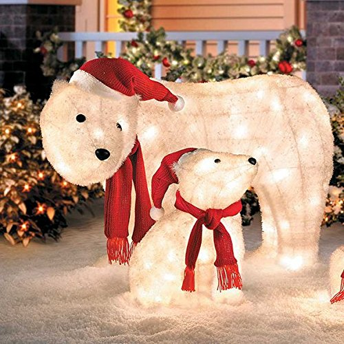 Outdoor Mama & Cub Polar Bear Display Christmas Yard Decoration Sculpture Holiday Seasonal by Home Improvements Holiday