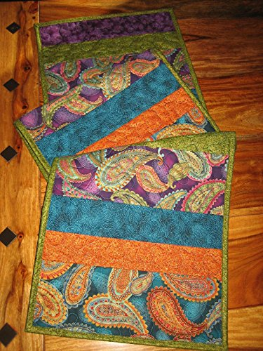 Quilted Table Runner, Paisley Purple Blue Gold Green 13 x 55