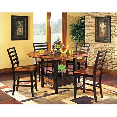 Steve Silver Company Abaco 5 Piece Drop Leaf Counter Height Storage Dining Table and Chairs Set (5 Piece Counter Height Dining Set With Leaf)