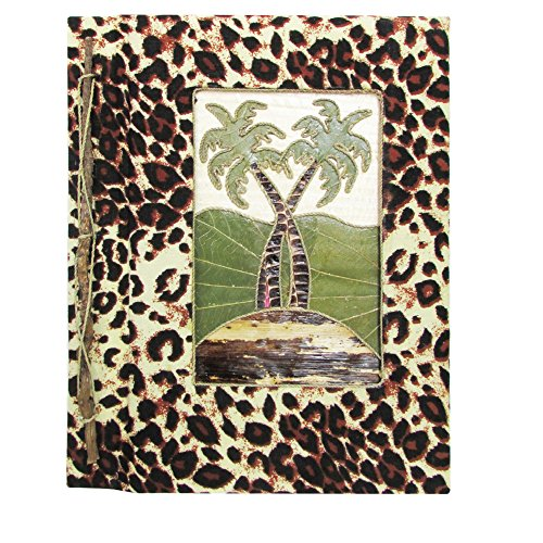 (Rockin Gear Photo Album - Hand Crafted Leopard Printed Banana Leaf Portrait Style Photo Album - (Palm Tree, 12
