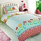 Childrens Girls Owls Duvet Cover Quilt Bedding Set, Single (Flowers, Hearts, Pink, Yellow, Blue)