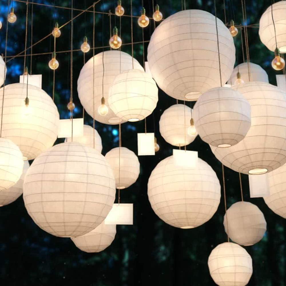 Aisamco Paquet de 20 lanternes en Papier Blanc Chinois Lanternes en Papier suspendues 46 810 12avec Ligne de p/êche en monofilament pour d/écorations de Mariage