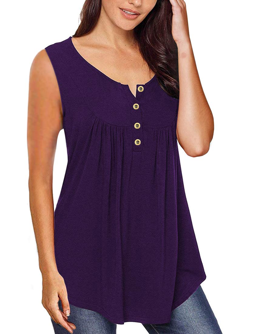 MIROL Womens Summer Sleeveless Solid Color Casual Swing Flowy Tank Tops with Buttons (XX-Large, Purple)
