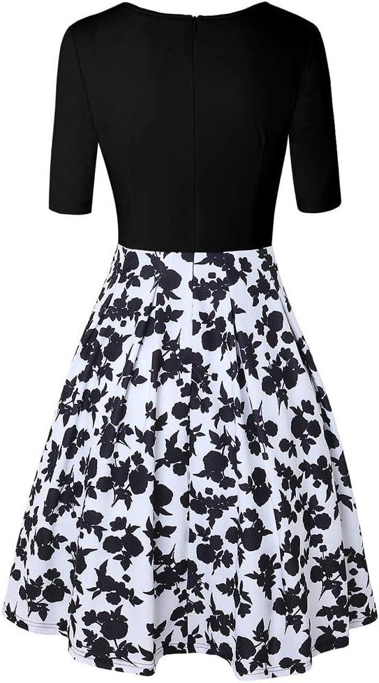 SKKG sukienka damska linia A, lata 60., z kwiatową spÓdniczką 3/4 ramienia, elegancka sukienka Audrey Hepburn, długie rękawy, linia A, z kwiatowym nadrukiem, wycięcie w kształcie U, sukienka