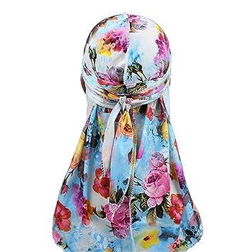 New Fashion Fashion Mens Silky Durags Turban Bandanas Printed Flower Men Durag Wave Caps Headwear Doo Rag Hair Accessories Headwrap Du Rag 2019 New Fashion Style Online Men's Accessories