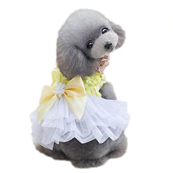 Elegante Lazo a de Línea Dress Perros Verano Vestido de Encaje Dog Tutu Rock Perros Mariposa