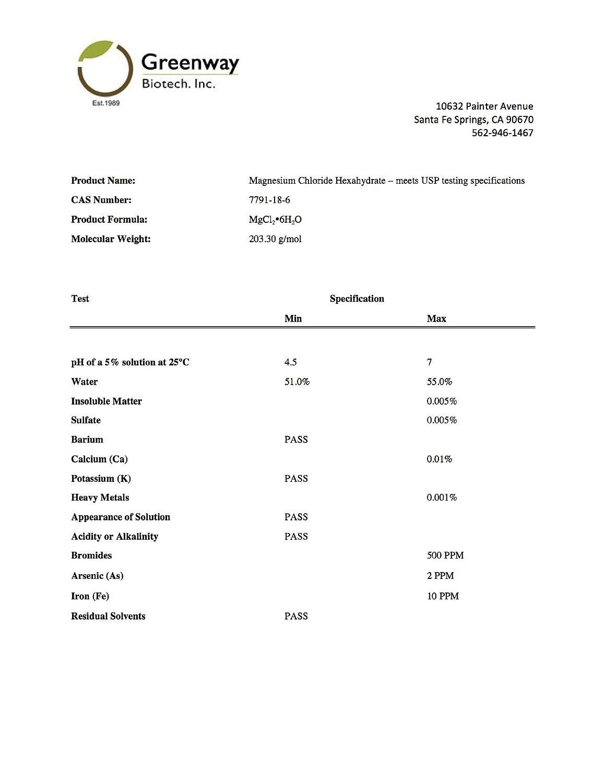 Amazon.com: Magnesium Chloride USP (Pharmaceutical Grade) 100% Edible Cloruro de Magnesio 100% Comestible