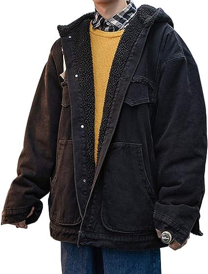 D.IIZOO ボアデニムジャケット メンズ 裏ボア ブルゾンコート ジージャン Gジャン ボアジャケット アウター フード付き カジュアル あったか 厚手 防寒 大きいサイズ