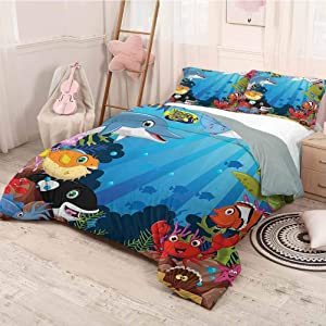 HELLOLEON Whale Decor Collection Pure Bedding Hotel Luxury Bed Linen Colorful Underwater Sandy Ground Cartoon Shark Fin Sea Plants Design Polyester - Soft and Breathable (Twin) Blue Orange Red