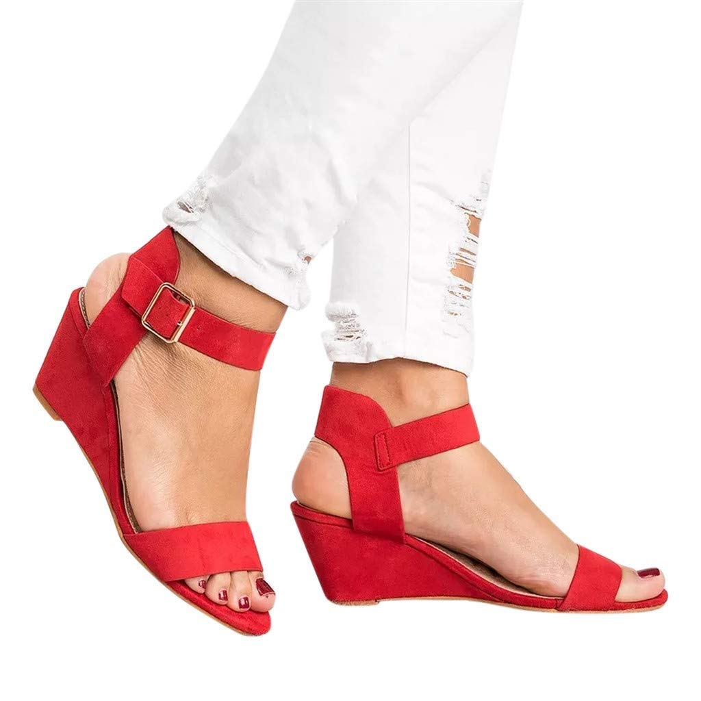 Gobling Womens Leisure Platforms Shoes Classic Solid Color Cozy Sling Back Roman Sandals Spring Summer Urban Trend All-Match Metal Buckle Wedge Sandals (Color : Red, Size : 7.5 M US)