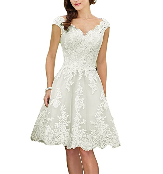 Vweil Rustic Lace Bridal Gowns Short Knee Length Wedding