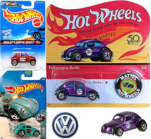 Trio Beetle Pack Hot Wheels VW 50th Originals Collection 2/5 Volkswagen Beetle Spectraflame Purple Replica Card with Button + Race Ace Baja Bug Card Game & Woody Volkswagen Tooned Beetle 3 Pack (Volkswagen Baja Bug)