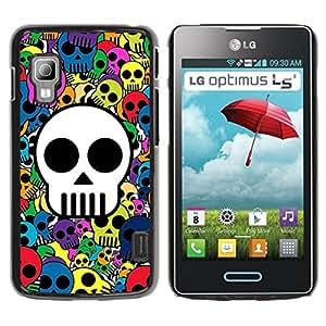 Paccase / SLIM PC / Aliminium Casa Carcasa Funda Case Cover para - Popular Skull Wallpaper Colorful Pirate Drawing - LG Optimus L5 II Dual E455 E460