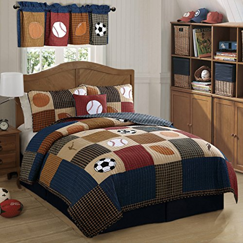2 Piece Boys Tan Navy Red Brown Royal Blue Grey Twin Quilt Set, Sports Themed Bedding Patchwork Plaid Beige Basketball Soccer Football Baseball Stylish Fun Colorful Bold Athlete, Cotton by UN3