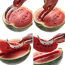 mKitchen World Watermelon Slicer Corer Cutter Tongs & Server Set - as Seen on TV 304 Stainless Steel – Dual Purpose Melon Baller and Fruit Carving Knife - 8 recipe eBooks Included
