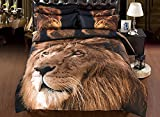 Ammybeddings Comforter Sets Cool Vigorous Lion Bedding,1 Bed Sheet,1 Quilt/Duvet Covers Queen,1 White Bedspread/Comforter,2 Pillow Shams,5 Piece Soft 3D Bedding Sets Black(California King-5PCS, Lion)