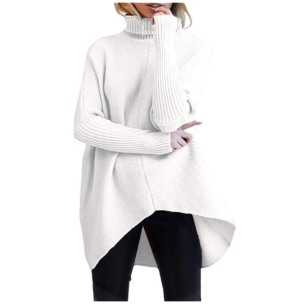 SPORTTIN Women's Wool Knit Poncho Pullover Turtleneck Oversized Casual Solid Black Sweater(White,X-Large) by SPORTTIN