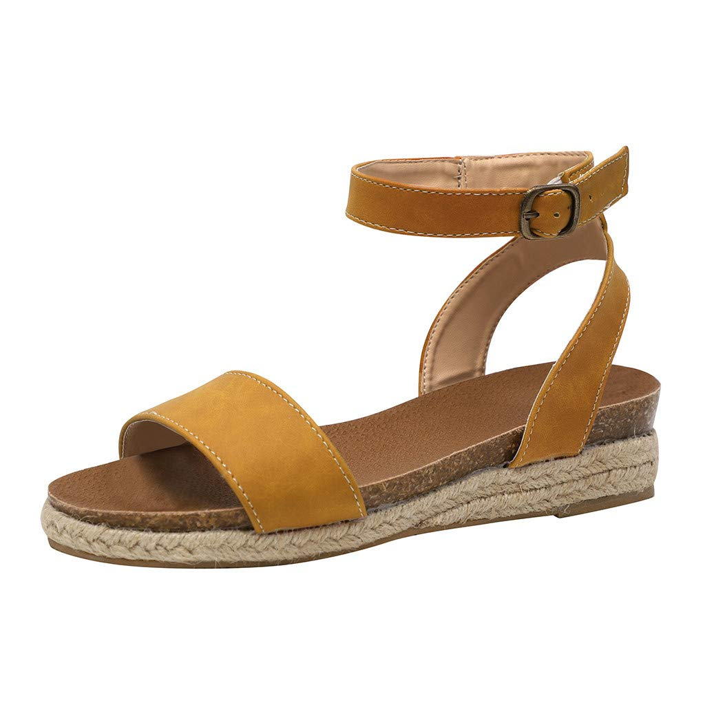 SSYUNO Womens Platform Sandals Summer Comfy Espadrille Slide-on Open Toe Ankle Strap Beach Travel Roman Flat Shoes Yellow