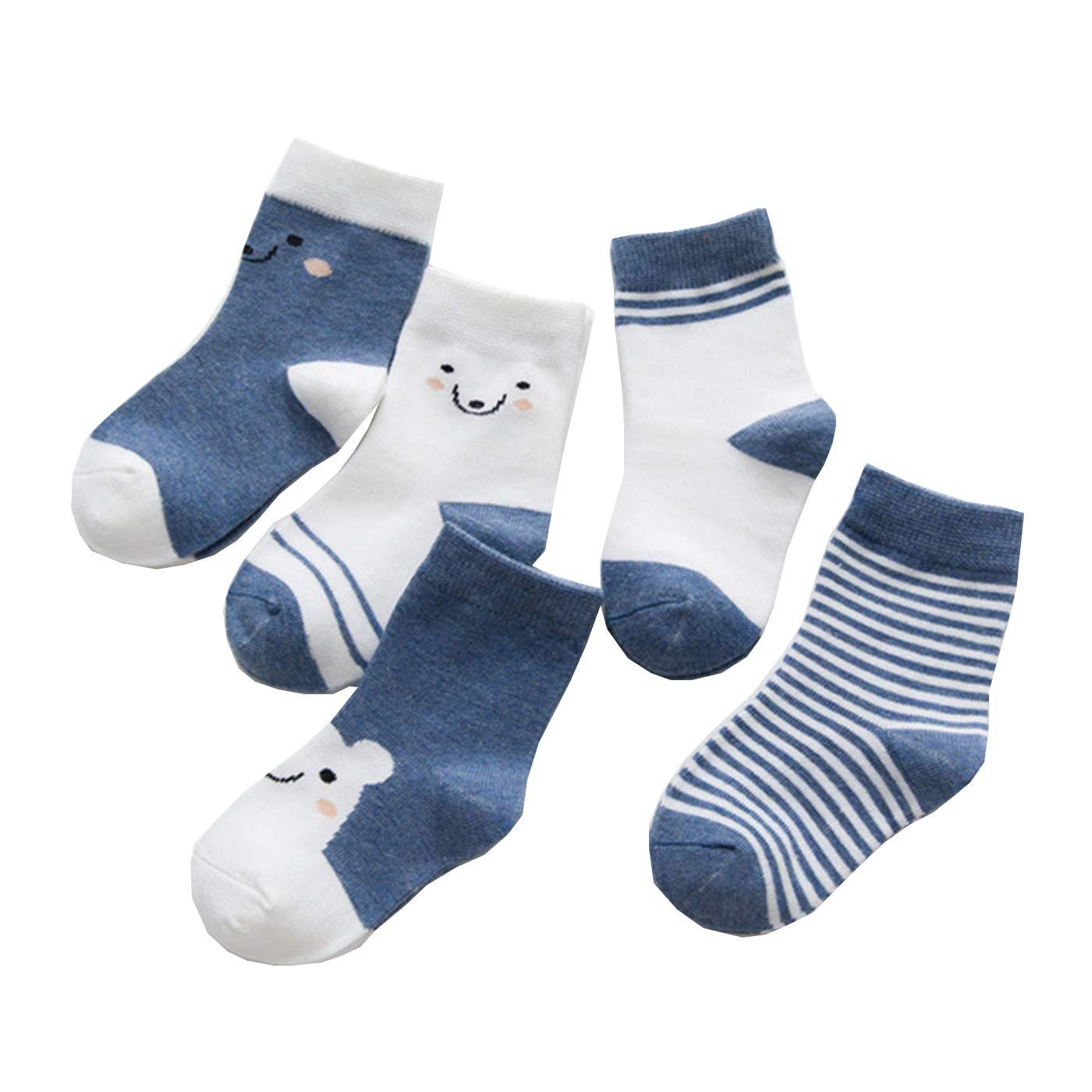 5 Packs Cotton Socks Unisex Toddler Socks Cute Design