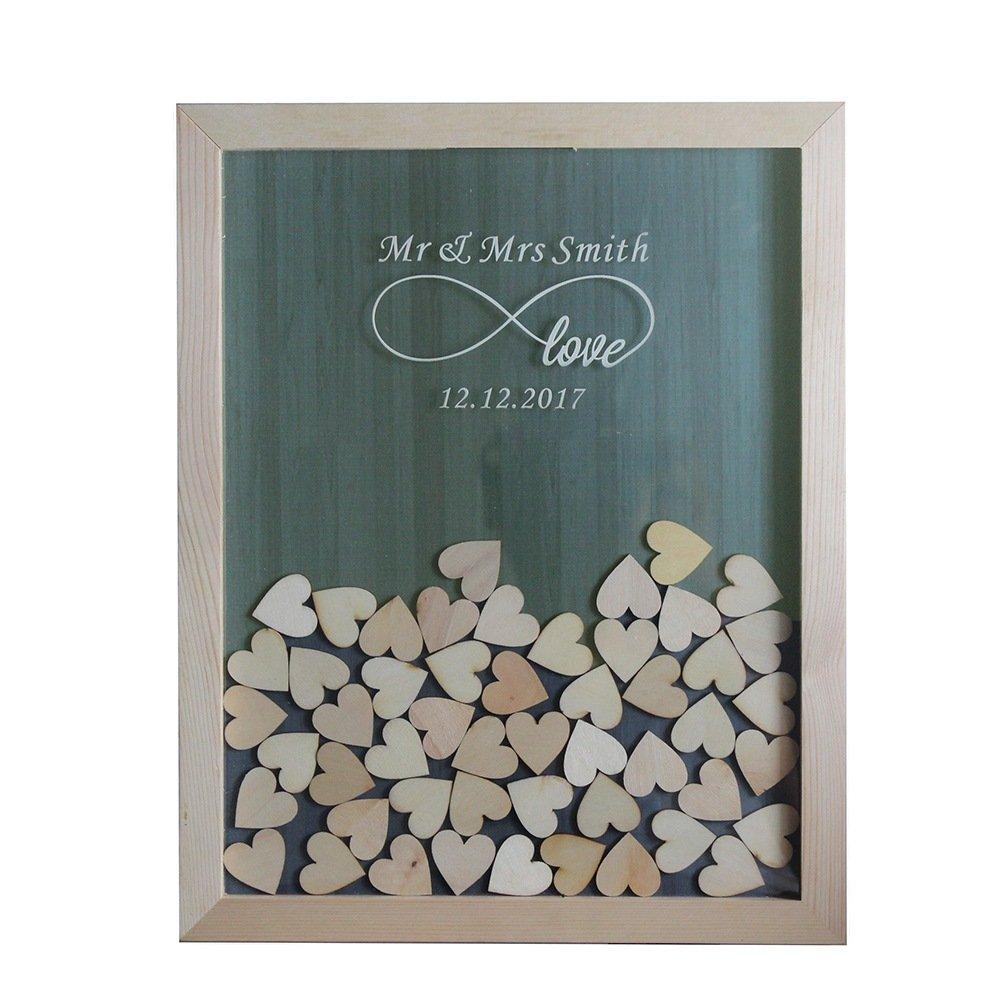 Tamengi Personalized Wedding Guest Book,Custom Name & Date Infinite Love Guestbook Alternative Wood Drop Top Frame Wedding Guest Book Box Rustic Unique 150Pcs Hearts Decor