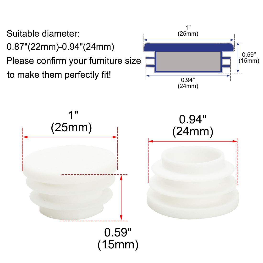 0.51-0.59 Inner Dia Furniture Glide Chair Feet Floor Protector uxcell/® 5//8 16mm OD Plastic Round Ribbed Tube Insert Pipe Tubing End Covers Caps White 8pcs