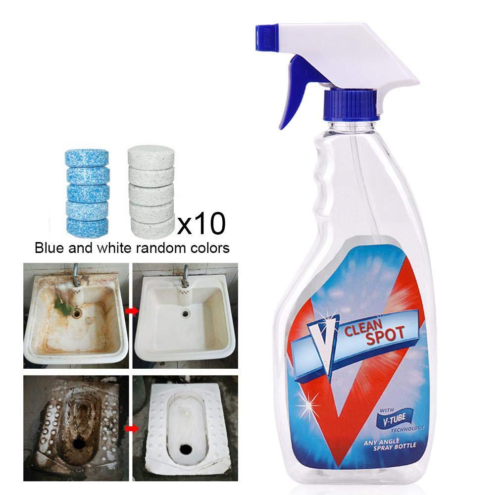 FOONEE Limpiador Multifuncional de Limpieza de tabletas Effervescente, Limpiador de Spray con 1 Botella de Spray y 10 Pastillas con Efecto ...