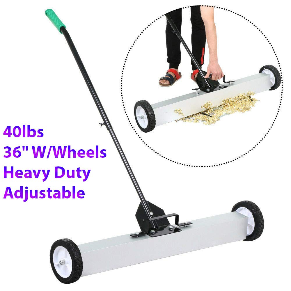 """40lbs 36"""" Heavy Duty Rolling Magnetic Sweeper Magnet Pick Up Tool Screws Parts Finder With Quick Release Latch & Adjustable Long Handle W/Wheels Ideal For Garage, Office, Yard, Home, Repair Shop, Prac"""