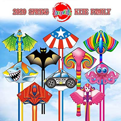 YongnKids Kites Police Car Delta Kite for Kids Children Boys Girls Adults Beginners The Beach Outdoor Games Easy to Fly: Toys & Games
