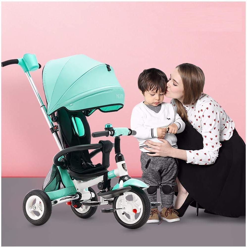 JYY Triciclo bebé Triciclo Plegable para niños Triciclo 4 en 1, Triciclo de Pedal con arnés de Seguridad/portavasos/toldo Solar, Bicicleta Triciclo de 6 Meses a 5 años,Green-1: Amazon.es: Hogar