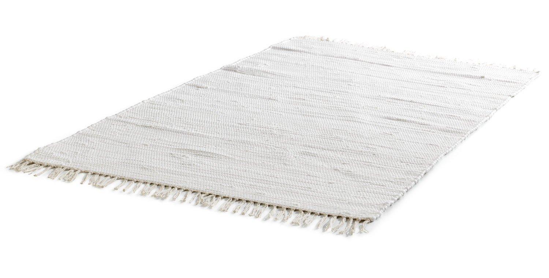 Baumwollteppich weiß  Teppich FRANKEN Natur | Baumwolle Weiß handgewebt | (B/L) 140x200 ...
