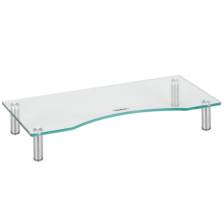 amazon com vonhaus curved glass monitor stand adjustable height