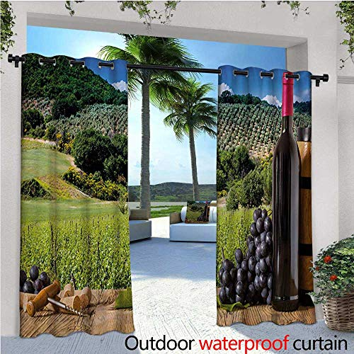 homehot Wine Patio Curtains Idyllic Tuscany Country Landscape Agriculture Harvest Grape Plantation Outdoor Curtain for Patio,Outdoor Patio Curtains W72 x L108 Black Green Pale Brown