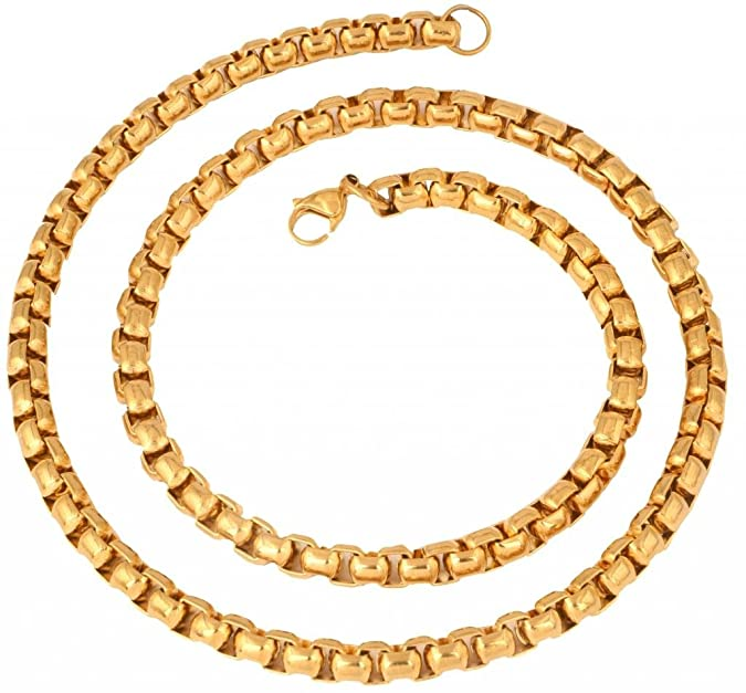 "The jewelbox Stainless Steel Gold Plated Thick Heavy Long Popcorn Chain for Men 24"" Chains at amazon"