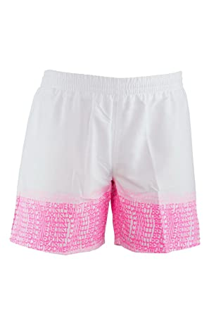 b3cbbb8a61 Amazon.com: Just Cavalli Men White & Pink Logo Pattern Beach Board Shorts  Swim Trunks XS US EU 46: Just Cavalli: Clothing