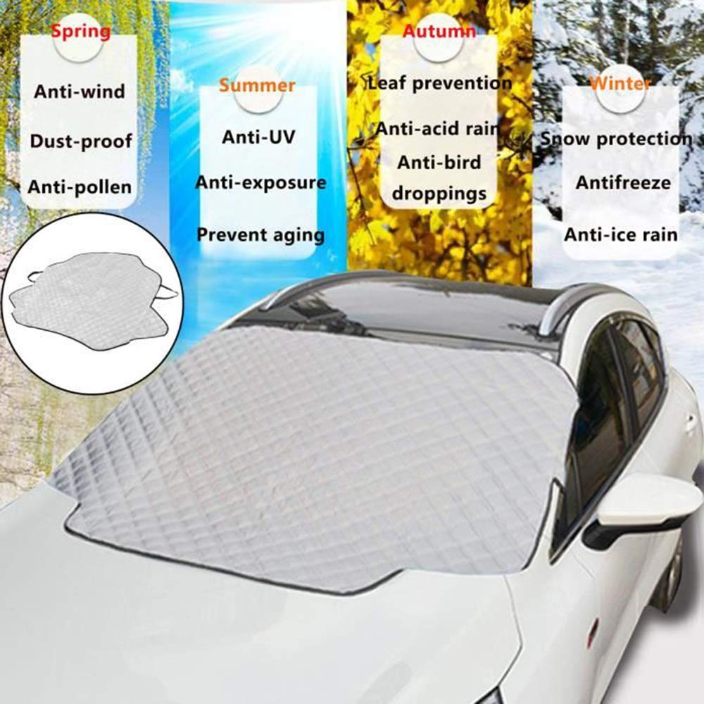 147 x 100 cm Keep your Vehicle Exterior Frost Free and Clean -Car-Van-SUV Self Storage Pouch Wiper Protector Sturdy Sun Shade Protector Windshield Snow Cover Best Auto Ice Guard Non Scratch Magnetic Heavy Duty Material
