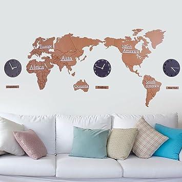 MQHY 3D Silent Wall Hölzerne Wanduhr DIY MDF Weltkarte Persönlichkeit  Kreative Aufkleber Wanddekoration