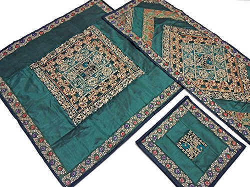 Green Fine Embroidered Decorative Tablecloth, Table Runner and 4 Placemats Set in Dupioni Art Silk ~ Overlay - 40 Inch, Runner - 60 Inch x 20 Inch, Placemats - 16 ()