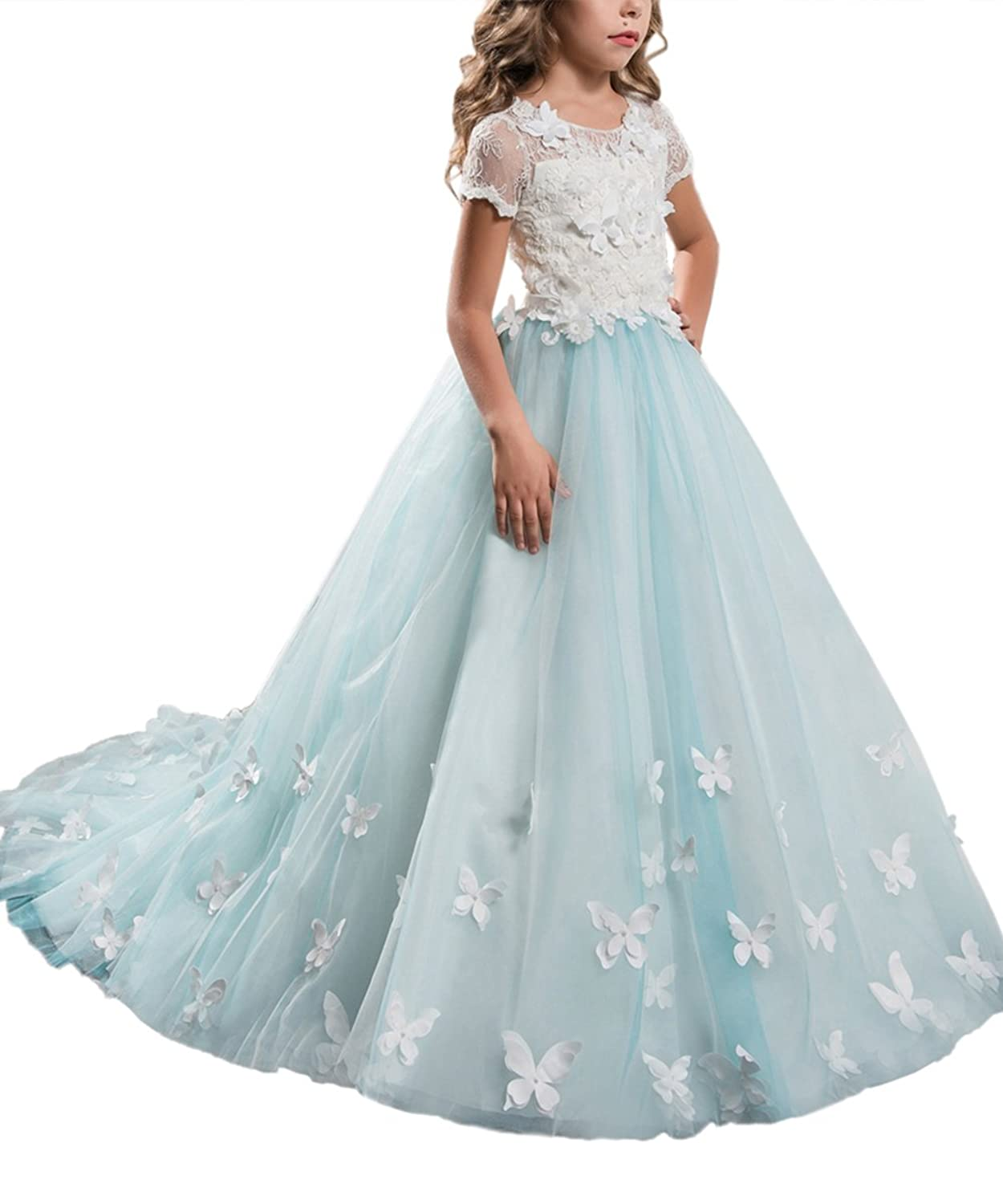 PLwedding Elegant Lace Applique Floor Length Flower Girl Dress Wedding Birthday Pageant Ball Gown