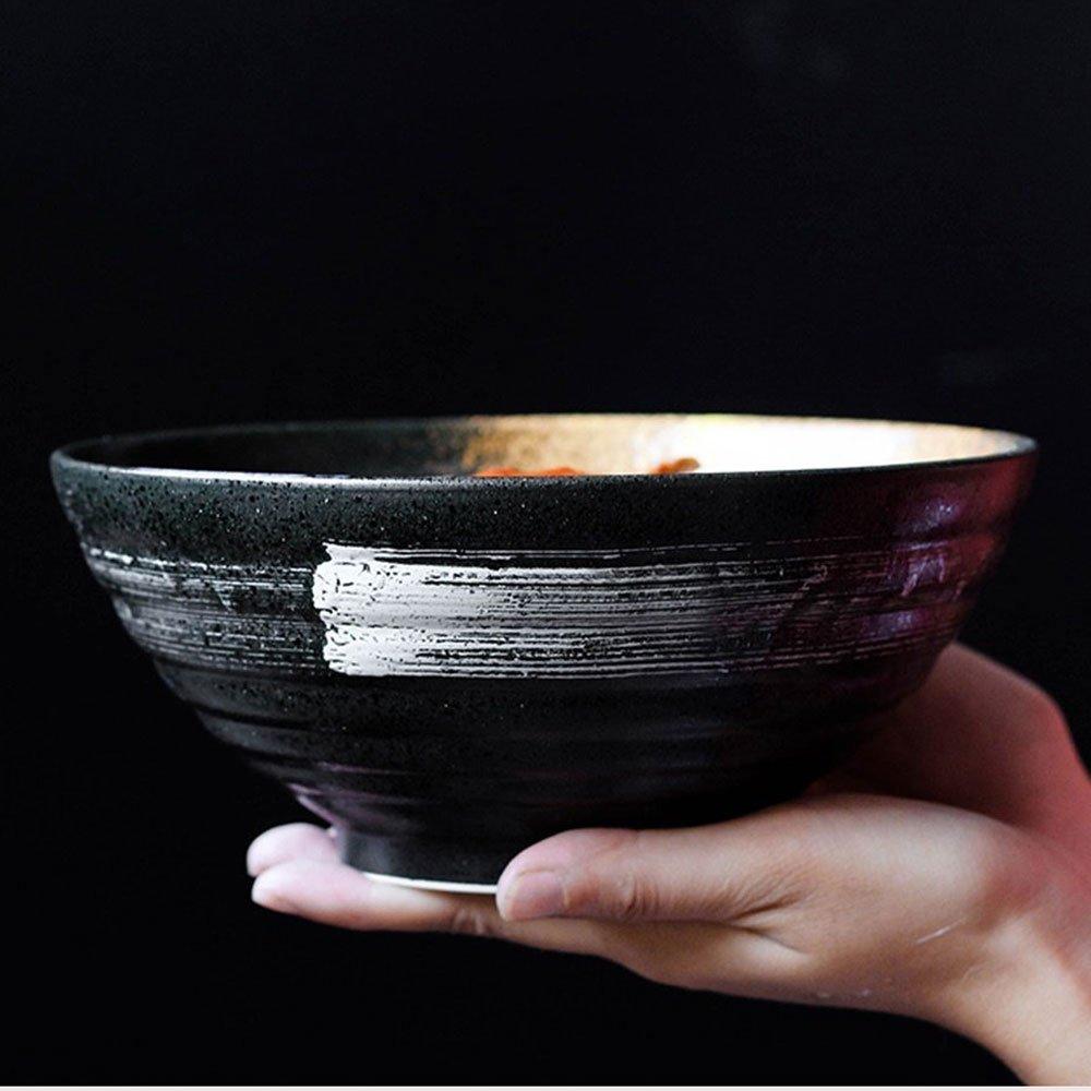 Zuppa di ceramica in stile giapponese, tagliatelle, pasta, ciotola, retro, insalata di frutta, ramen, piatto, ciotole, forno, microonde, sicuro, miscelazione, servire, ciotole, 7,5 pollici, nero YINUO Ciotola