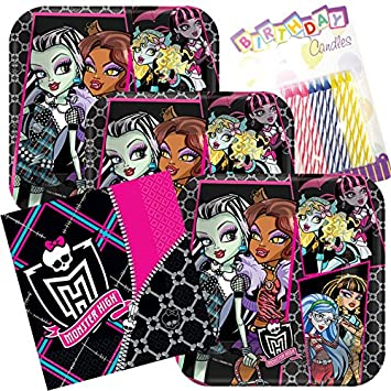 Monster High Party Plates and Napkins Serves 16 With Birthday Candles & Monster High Party Plates and Napkins Serves 16 With Birthday ...