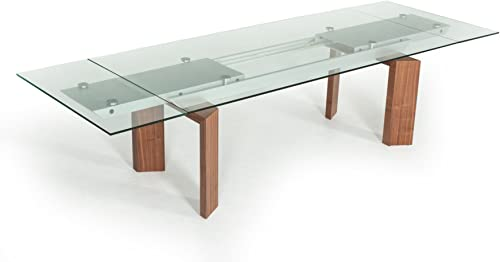Limari Home The Bedros Collection Modern Extendable Rectangular Glass Top Contemporary Kitchen Dining Room Table